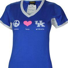 University of Kentucky PEACE LOVE WILDCATS on BLUE/WHITE Junior fit Shirt
