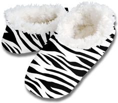 Zebra print snuggly shoes -- perfect for the sweetheart who loves animal print everything!