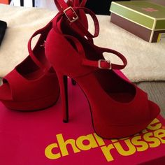 Red High Heels Charlotte Russe red high heels with double straps. Warn only once or twice. Charlotte Russe Shoes Heels