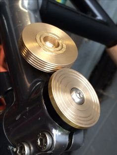 Custom brass stem caps from Tomobikes