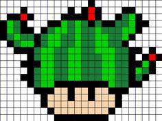 Cactus mushroom perler bead pattern Pixel Art Templates, Perler Bead Templates, Diy Perler Beads, Perler Bead Art, Melty Bead Patterns, Pearler Bead Patterns, Perler Patterns, Beading Patterns, Tiny Cross Stitch