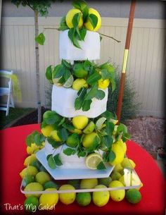 Lemon & Lime Wedding Cake - That's My Cake! Fruit Centerpieces, Fruit Decorations, 3 Tier Cake, Tiered Cakes, Lime Wedding, Dream Wedding, Lemon Yellow, Lemon Lime, Citrus Cake