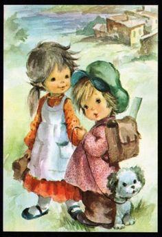 CP-fantaisie-illustrateur-Couple-enfant-ecolier-cartable-chien-children-6176