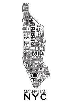Manhattan New York Neighborhood Map Poster