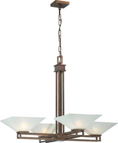 Nuvo Ratio - 4 Light Chandelier w/ Frosted Sand Glass