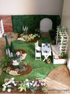 how to: dollhouse grass for landscaping - use towel and paint it the right shade of green (not in English)