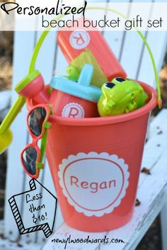 A great gift for kids of any age - a personalized summer beach bucket. This gift only takes ten minutes and less than $10.