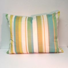 "aqua, gold, green striped pillow 12"" x 16"""