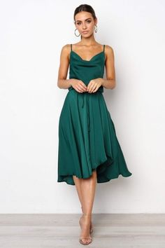 Green Plain Satin Dip Hem Cami Dress Urban Touch Clothing Green, Exclude from Peoplevox @ Little Mistress Forrest Green Bridesmaid Dresses, Summer Bridesmaid Dresses, Summer Dresses, Bridesmaids, Bridesmaid Ideas, Cocktail Wedding Attire, Beach Wedding Attire, Wedding Outfits, Cocktail Dresses