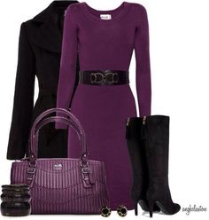 af6db89525e72 I think I would go with a lower heel on those black boots but otherwise,  this Pantone violet colored outfit is perfection!