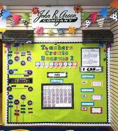 A bright and bold display with Chalkboard Bright Classroom Awnings from John R. Green Company in Covington, KY