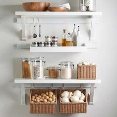 Keep your kitchen organized with these helpful hints. Organize spices, cereals, grains, bottles, canisters and milk with these easy (and affordable!) pantry products. Find more DIY storage ideas with these 10 quick tips.