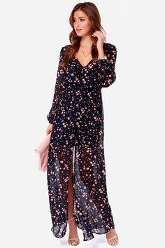 Volcom Let's Elope Dress - Navy Blue Dress - Maxi Dress - Floral Print Dress - Long Sleeve Dress - $75.00