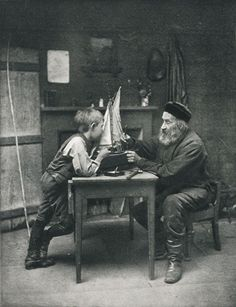 +~+~ Antique Photograph ~+~+  Boy and his Grandfather by William Anckorn.  Scotland 1894.