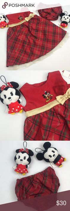 Disney Mickey & Minnie Plaid Dress With Bloomers Gorgeous Mickey and Minnie Mouse Red Plaid Dress with matching Bloomers NWT! ❤️ Disney Dresses Formal