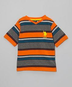 Take a look at this Orange & Gray Stripe Tee - Toddler & Boys by U.S. Polo Assn. on #zulily today!