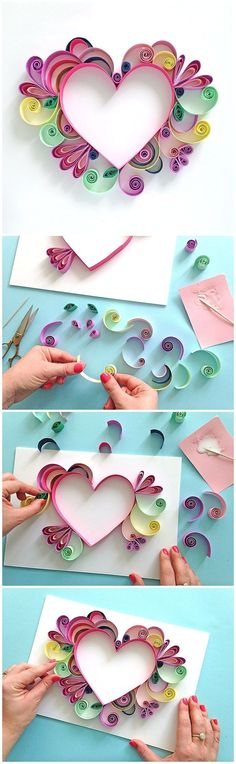 Learn How to Quill a darling Heart Shaped Mother's Day Paper Craft Gift Idea via Paper Chase - Moms and Grandmas will love these pretty handmade works of art!  The BEST Easy DIY Mother's Day Gifts and Treats Ideas - Holiday Craft Activity Projects, Free Printables and Favorite Brunch Desserts Recipes for Moms and Grandmas More on good ideas and DIY