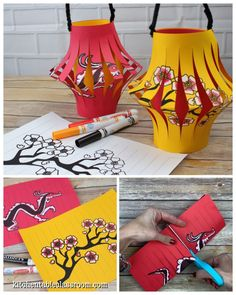 Make Chinese paper lanterns with three free templates. lanterns How to Make a Chinese Lantern- A Chinese New Year Craft - The Kitchen Table Classroom Chinese New Year Crafts For Kids, Chinese New Year Dragon, Chinese New Year Activities, Chinese New Year Design, Chinese New Year Party, Chinese New Year Decorations, New Years Decorations, Art For Kids, Chinese Crafts