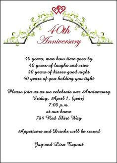3 40th anniversary invitation wording ideas 40th anniversary exclusive wedding anniversary invitation designs currently discount to per party invite create lifetime memories with our trendy anniversary party stopboris Choice Image
