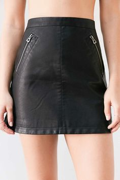 Silence + Noise Vegan Leather Biker Mini Skirt