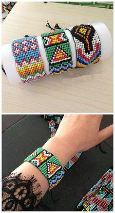 Handmade Women Ethnic Printing Bohemia Loom Beaded Bracelet Jewelry