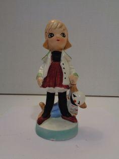 Vtg Bradley Exclusives Ceramic Figurine of Big Eyed Girl with Doll Japan