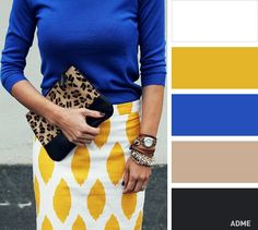 Bold Pattern skirt in white and yellow with cobalt blue. and leopard print clutch- cute for work Colour Combinations Fashion, Color Combinations For Clothes, Fashion Colours, Colorful Fashion, Color Combos, Color Schemes, Bleu Cobalt, Blue Colour Palette, Color Pairing