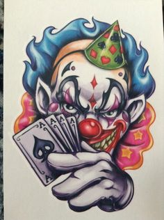 Tattoo image is not actual size Scary Clown Drawing, Creepy Drawings, Scary Art, Evil Clowns, Scary Clowns, Evil Clown Tattoos, Ace Of Spades Tattoo, Clown Photos, Tattoo Coloring Book