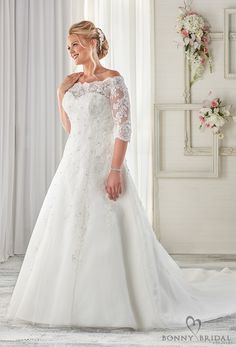 bonny bridal 2017 half sleeves off the shoulder sweetheart neckline heavily embellished bodice plus size a  line wedding dress covered lace back chapel train (1614) mv -- Bonny Bridal Wedding Dresses