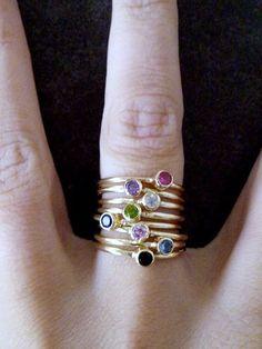Anzeigetafel-Smaragdring,+Thin+Stackable+Ring,++von+Candy+auf+DaWanda.com