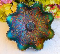 Beautiful Vintage Northwood Carnival Glass Footed Ruffled Bowl Wishbone Purple #Northwood