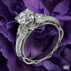 Verragio Bead-Set Knife Edge Diamond Engagement Ring - AFN-5021R-4 - Verragio Venetian Collection. It features 0.45ctw of Round Brilliant Diamond Melee (F/G VS).
