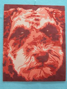 Appliqued pet portrait by Carie Shields.  Made with 4 gradations of value.