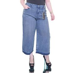 Style & Co Jeans | Light Releasedhem Denim Culotte Jean Cutt Offs | Poshmark Style And Co Jeans, Polyester Spandex, Mom Jeans, Polka Dots, Denim, Womens Fashion, Cotton, Pants, Outfits