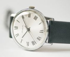 Shiny vintage watch men's wristwatch silver shade by SovietEra, $72.00