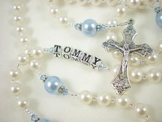 White and Blue Catholic Baptism Rosary with Swarovski by RosyCathy
