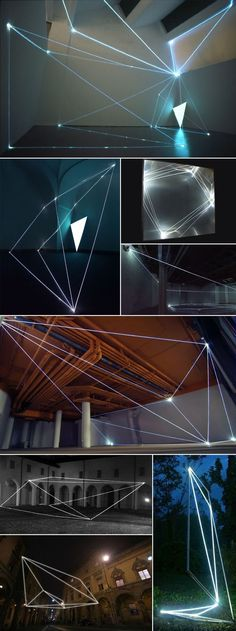 Italian artist Carlo Bernardini has been working with optic fiber since He creates light sculptures or, more precisely, spatial drawings using optical fibers and in a sense sculpts the darkne…Inspiration from Ecoledlight: Bühnen Design, Instalation Art, Projection Mapping, Luminaire Design, Light And Space, Italian Artist, Stage Design, Light Painting, Painting Art