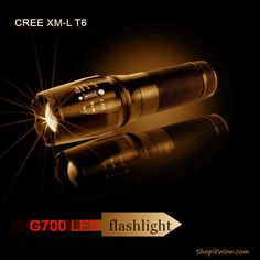 G700 CREE XM-L T6 3800 Lumens tactical flashlight zoomable lens rechargeable