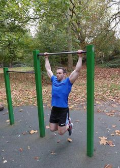 Richard Hadfield doing pull-up exercise...
