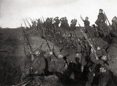 World War I - Bulgarian soldiers in a trench, preparing to fire against an incoming airplane. The Bulgarians suffered their only defeat of the war at the Battle of Dobro Pole: Bulgaria capitulated two weeks later, on 29 September 1918.