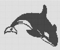 (9) Name: 'Sewing : Orca Killer Whale Simple Cross Stitch