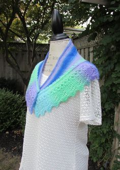 collar shawl in variegated colors of green, purple & blue, hand knit - lace pattern