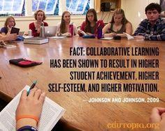 Collaborative learning quote via www.Edutopia.org