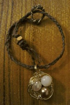 Nest with the Golden Egg,  wire wrapping with beads