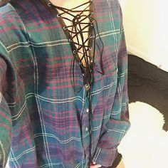 Custom Made Vintage Lace Up Flannel Custom made Fits like an oversized large Feel free to ask me any questions Thanks for browsing my closet! Happy Poshing Vintage Tops Button Down Shirts