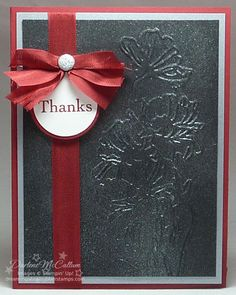SU! Flower Garden Textured Impressions Embossing Folder Thank You card