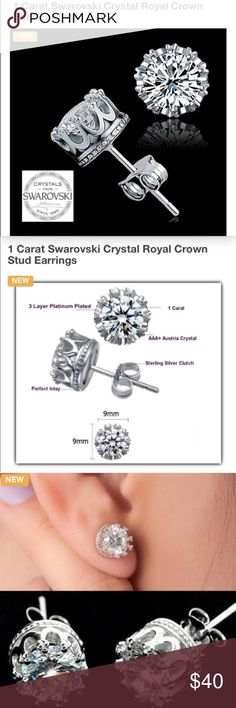 JUST IN NEW SWAROVSKI CROWN STUD EARRINGS NEW STUNNING 1 CARAT SWAROVSKI CROWN STUDS PLATINUM PLATED WITH STERLING SILVER BUTTERFLY BACKS FIT FOR ANY QUEEN TO WEAR! SEE MEASUREMENTS IN PICS includes black velvet gift box Swarovski Jewelry Earrings