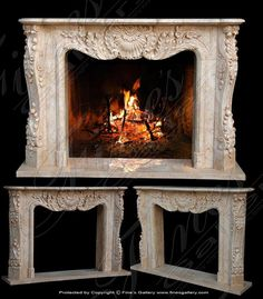 Marble Mantels | Fireplace Mantles | Marble Fireplaces | Hearths | Mantels | Custom Designed Lgt. Cream Marble French Mantel  Lgt. Cream Marble French Mantel  MFP-1001