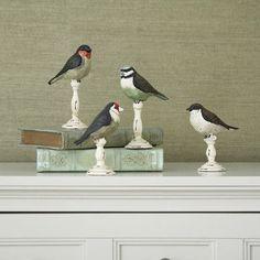 Lark Manor Barfleur 4 Piece Resin Birds on Pedestal Figurine Set