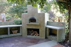 Storage of firewood for the outdoor kitchen is a must.